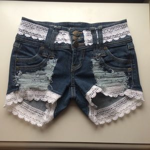 Lace Trimmed Jean Shorts